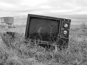 Television left out on the prairie